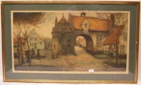 """Brügge: """"Stadttor mit Personenstaffage"""". Farbdruck, signiert, 140/150. 35 x 66cm, Rahmenmit Glas.- -"""