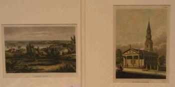 """New York"". Fünf Stahlstiche um 1840. Dabei: ""Astor House - St. Pauls Broadway - Hyde Park- The"