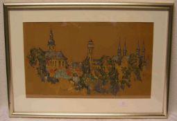 """Knobel, Michael, geb. 1952: """"Bamberg - Blick auf die Altstadt"""". Deckfarben auf Papier,signiert, 37 x"""