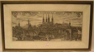 """Rischart Hannes: """"Bamberg"""". Radierung, signiert, 26 x 60cm. Rahmen mit Glas.- - -20.17 % buyer's"""