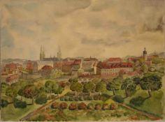 "Metzner, Josef (1913 - 1999). Bamberger Maler und Buchbinder : ""Bamberg - Blick vomMichaelsberg""."