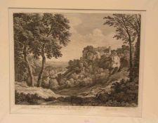 """Poussin (Dughet Gaspard, Rom 1615 - 1675): """"Italienische Landschaft"""". Radierung 1741 vonJean B.C."""