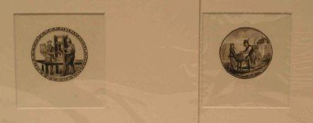 """""""Buchdrucker - Scherenschleifer"""". Zwei Kupferstiche, 18. Jh. im Rund. Durchmesser: 5cm,beide im"""