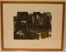 """Zeinig, Waltraud: """"Bamberg - Häuser am Fluss"""". Farbholzschnitt, handsigniert 1966,nummeriert 164/"""