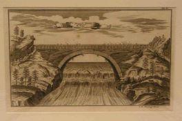 """Stör, J. W.: """"Fliegende Brücke zu Kensi - Hängebrücke in Jiangxi/China"""". KupferstichLeipzig 1735. 17"""