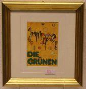 """Beuys, Joseph: """"Die Grünen"""". Multiple, signiert, 28 x 26cm, Rahmen mit Glas.- - -20.17 % buyer's"""