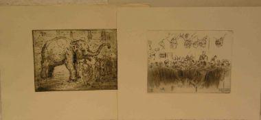 """Rauh, Anton (1891 - 1977), zwei Radierungen: """"Auktion Helbig"""" und """"Zirkus Gleich mitRiesenelefant in"""