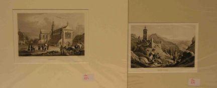 Franken. Fünf Stahlstiche um 1840. Dabei : Ansbach, Berneck, Eberach, Kissingen,Riesenburg. Ca.11