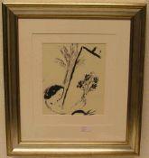 """Chagall, Marc: """"Der Handblumenstrauß"""" 1957. Lithografie, 47 x 40cm, Rahmen mit Glas.- - -20.17 %"""