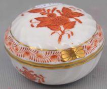 Doserund, Dekor Apponyi orange, Goldrand, H 4 cm, Dm 7 cm, FM Herend