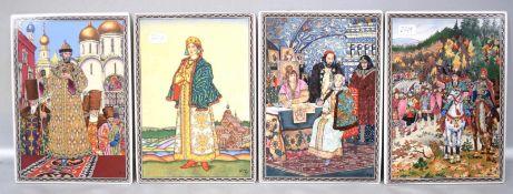 Vier PorzellanbilderDie Krönung des Zaren, im Palast des Zaren und Tatiana, 12 X 17 cm, FM
