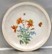 Kuchenplatterund, Goldrand, Spiegel mit bunter Blumen- und Insektenbemalung, Dm 30 cm, FM