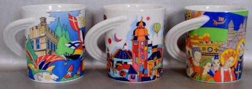 Drei TassenCity Cup, mit Ansichten von Köln bzw. Mannheim, Design Gerhard Hoffmann, FM Rosenthal