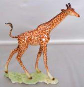 Giraffeauf rechteckigem Sockel stehend, bunt bemalt, H 21 cm, L 22 cm, FM Goebel