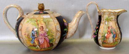 Teekanne und MilchgießerWandung gebaucht, mit Watteauszene bunt bemalt, mit goldenen Ranken, Kanne