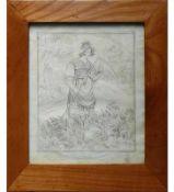 """Rahmen (19.Jh.)Kirschbaum; rechteckige Form; 22,5 x 27 cm; mit Kupferstich """"Die Mäherin""""; hinter"""