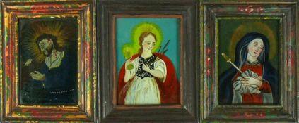 3 div. Hinterglasbilder (19.Jh.)div. religiöse Darstellungen; jeweils ca. 10 x 8 cm; je R;