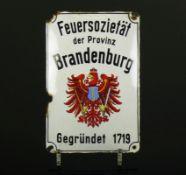 """Emailschild""""Feuersozietät der Provinz Brandenburg, gegründet 1719""""; farbiger Email; mit"""