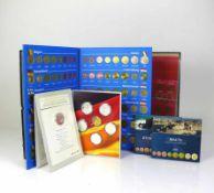 Münzsammlung14 div. EU-Länder mit Münzen zu je 3,88 Euro sowie Sammlung 1 Pfennig, 2 Pfennig, 5