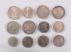 12 Münzen Deutsches Reich1x 3 Mark Preußen Befreiungskriege 1913 vz. 1x 2 Mark Preußen