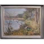 """Willi Lorenz (1901-1981). """"Aufsteigende Enten am See""""Öl auf Leinwand gemalt, unten rechts"""