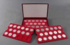 Münzkasette der Deutschen Sporthilfe zu den Olympischen Spielen 198448 Silbermünzen in PP und ST,