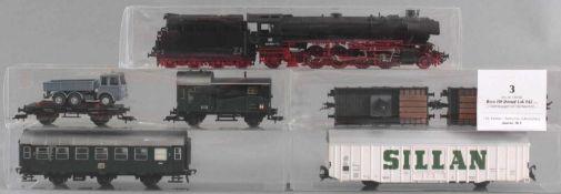Roco H0 Dampf-Lok 042 052-1 mit 6 Fleischmann Waggons1 Güterwaggon mit Werbeschrift Silan, 2