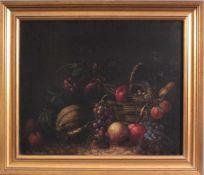 Konrad Knapp (1864-?), Stillleben mit Obst, 19. Jh.,Öl auf Leinwand gemalt, gerahmt, ca. 492 x 58