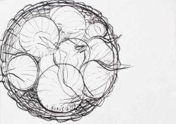 """Ioan Bunus. Geb. 1952 ReghinFeder Zeichnung. """"Ein Körbchen mit Zwiebeln), unten mittig signiert"""