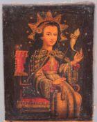 Unbekannter Künstler des 16./17. Jh. Jungfrau Maria mit SpindelÖl auf Leinwand gemalt, sitzende