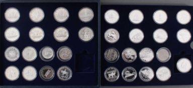 Kanada - Die Offiziellen Silber-Gedenkmünzen33 Stück, alle Polierte Platte und in Münzkapseln