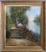 """Rahnavard Madjid (1943)Öl auf Leinwand, """"Junge Dame im weißen Kleid mit einem Blumenstrauß am"""