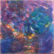 Hanspeter Münch (1940)Acryl/Papier/Holz, ohne Titel, Farbkomposition in blau, links unten