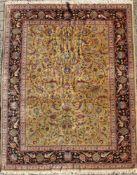 TäbrizWolle auf Baumwolle, Vogeldekor, ca. 330 x 241 cm