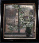 W. Volz (1855-1901), Fensterblick mit Fachwerkaus und BlumenÖl auf Leinwand, unten links signiert,