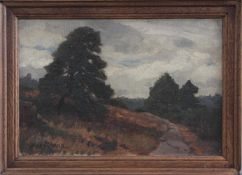 """Max Wilhelm Roman (1849 - 1910), """"Sommerliche Landschaft""""Öl auf Karton gemalt, unten links signiert,"""