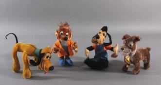 Schuco Bigo Bello, 4 Figuren aus den 50er/60er JahrenAus Mohair, Lupo, Maus, Strolch und Goofy, alle