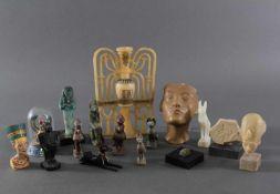 Museums-Replikat Sammlung, Ägyptische Figuren16 Stück, unterschiedliche Darstellungen,