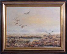 """Paul W. Dahms (1913-1988). """"Landende Wildenten im Moor""""Öl auf Leinwand gemalt, unten rechts"""