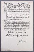 Urkunde mit Autograph Wilhelm FrickErnennungsurkunde zum Regierungsinspektor vom 16. März