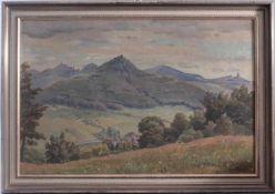 """Auguste Croissant (1870 Edenkoben-1941 Landau)Öl auf Leinwand, """"Blick auf Trifels, Anebos und Münz"""","""