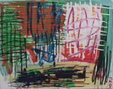 """Reinhold Braun (1961). """"Topo-Univers""""Mischtechnik auf Leinwand, rechts unten monogrammiert RB, verso"""