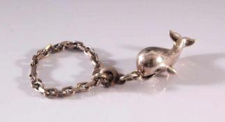 Schlüsselanhänger aus Sterlingsilber mit WalanhängerGliederkette, punziert 925, ca. Länge 11 cm,
