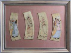 Persische Miniaturmalerei auf Elfenbein 19. Jh.Farbige Malerei, 4 unterschiedliche figürliche