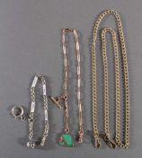 3 TaschenuhrenkettenLänge ca. 22, 38 und 84 cm.