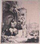Rembrandt van Rijn (1606 - 1669)Christus und die Samariterin zwischen Ruinen. Radierung. 12,2 x 10,7