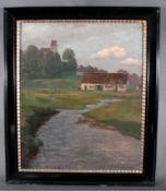 """W. Volz (1855-1901). """"Landschaft mit Gebäuden und Flußlauf""""Öl auf Leinwand, unten rechts signiert"""