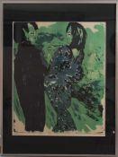 """Emil Nolde (1867-1959) - PlakatFarboffsetdruck, Reproduktion von 1967, """"Junges Paar (1913)""""."""