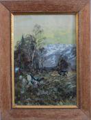 """Eduard Heller 1852 - ? """"Birkhanbalz""""Aquarell auf Papier gemalt, unten rechts mit Bleistift signiert,"""
