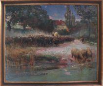 """Carl Wilhelm Bergmüller (1864 - 1928), """"Schafherde am Fluss""""Öl auf Leinwand gemalt, unten links"""